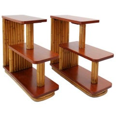 Restored Mahogany & Stacked Rattan Three-Tier Side Tables, by Paul Frankl, Pair