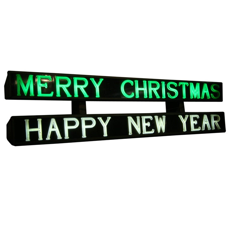 Merry Christmas / Happy New Year Light-Up Sign For Sale