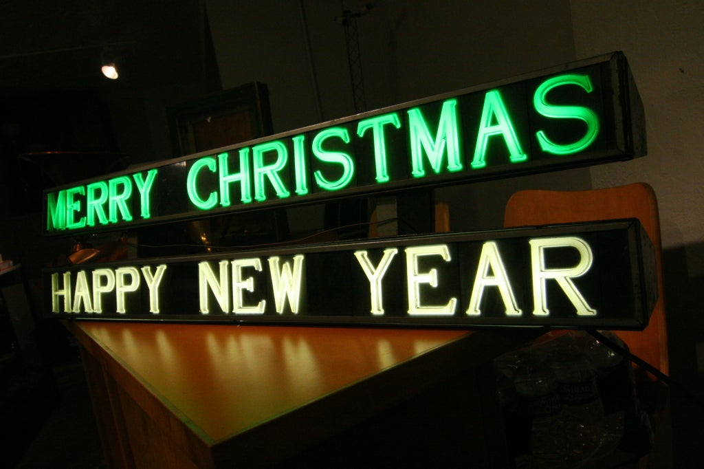 American Merry Christmas / Happy New Year Light-Up Sign For Sale