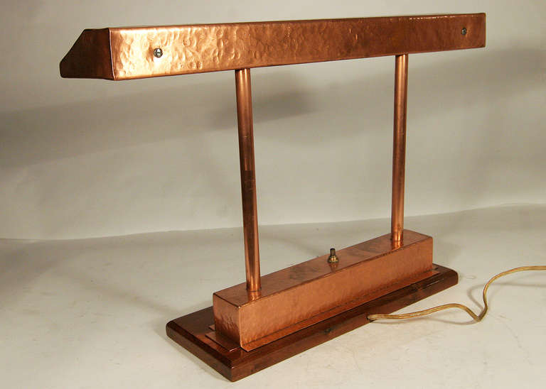 vintage craftsman style polished copper fluorescent desk. Black Bedroom Furniture Sets. Home Design Ideas