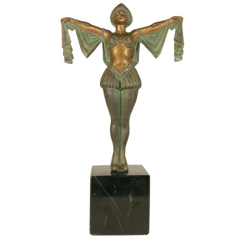 Art Deco Flapper Erotic Dance Spelter Female Statue For Sale At