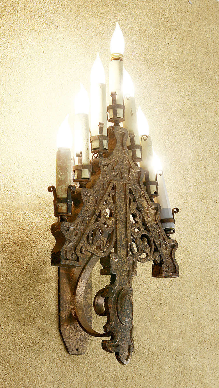 gothic wall sconce wrought iron set of six late victorian french gothic style iron sconce or candelabra converted to electric late style candelabra wall sconces at 1stdibs