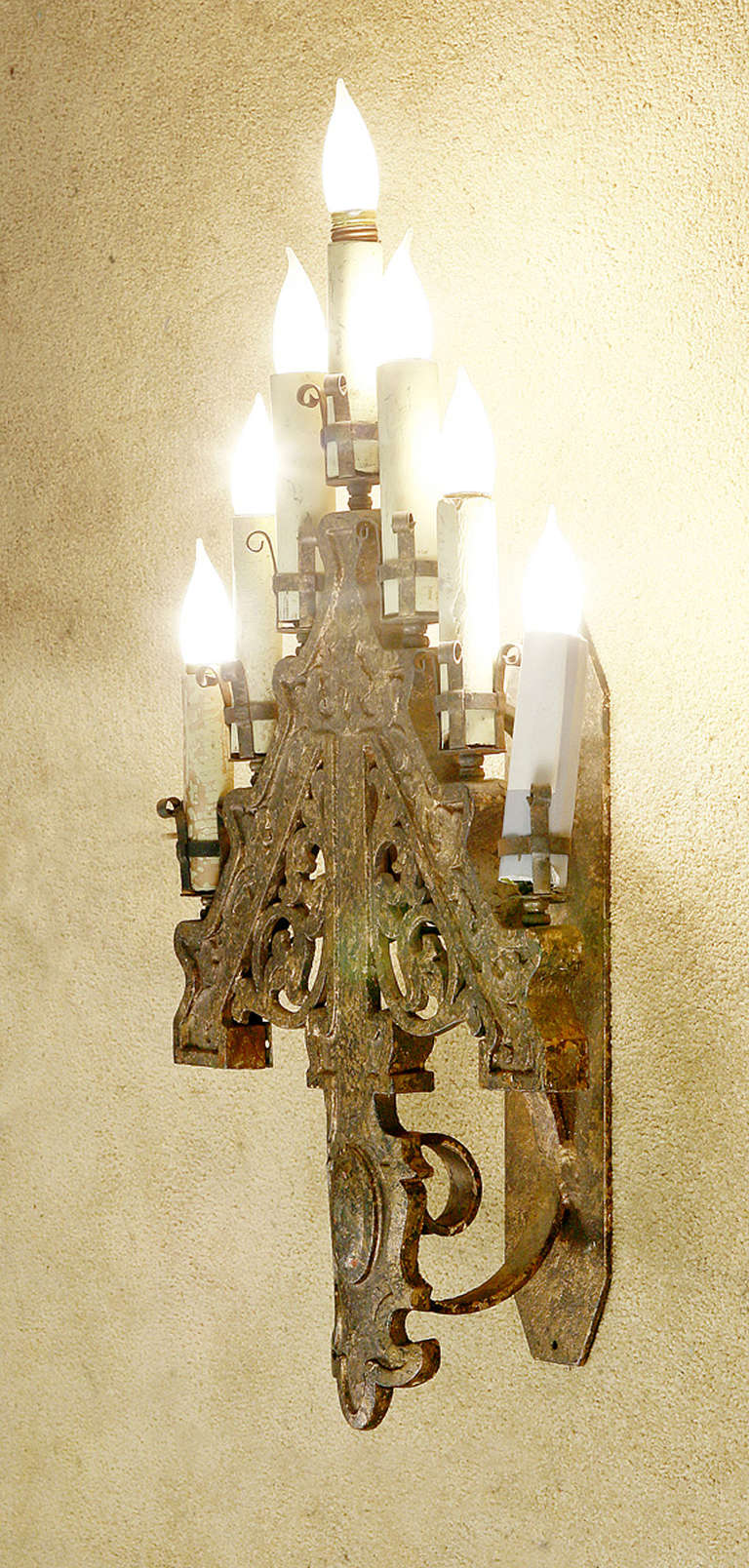 Gothic Style Wall Sconces : Late Victorian French Gothic Style Candelabra Wall Sconces at 1stdibs