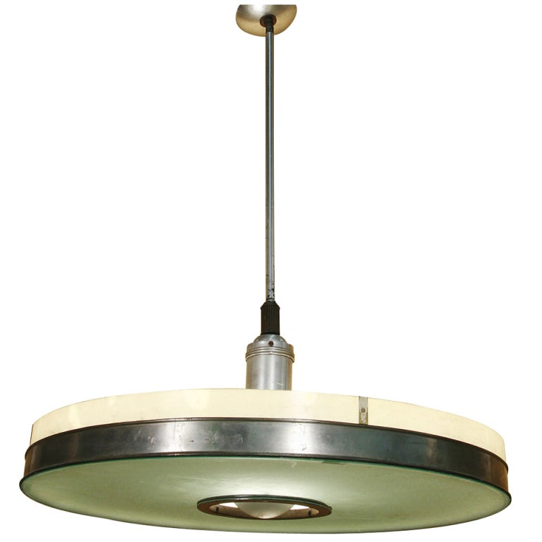 Original May Company Wilshire Streamline Stainless Pendant Ceiling Lamp For Sale