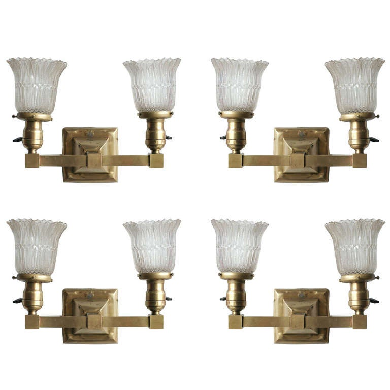 Antique High Style Brass Double Wall Sconce at 1stdibs