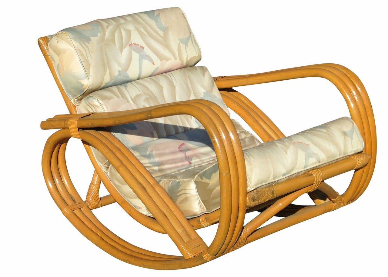 Rare Pretzel Arm Rattan Rocking Chair with Ottoman image 2