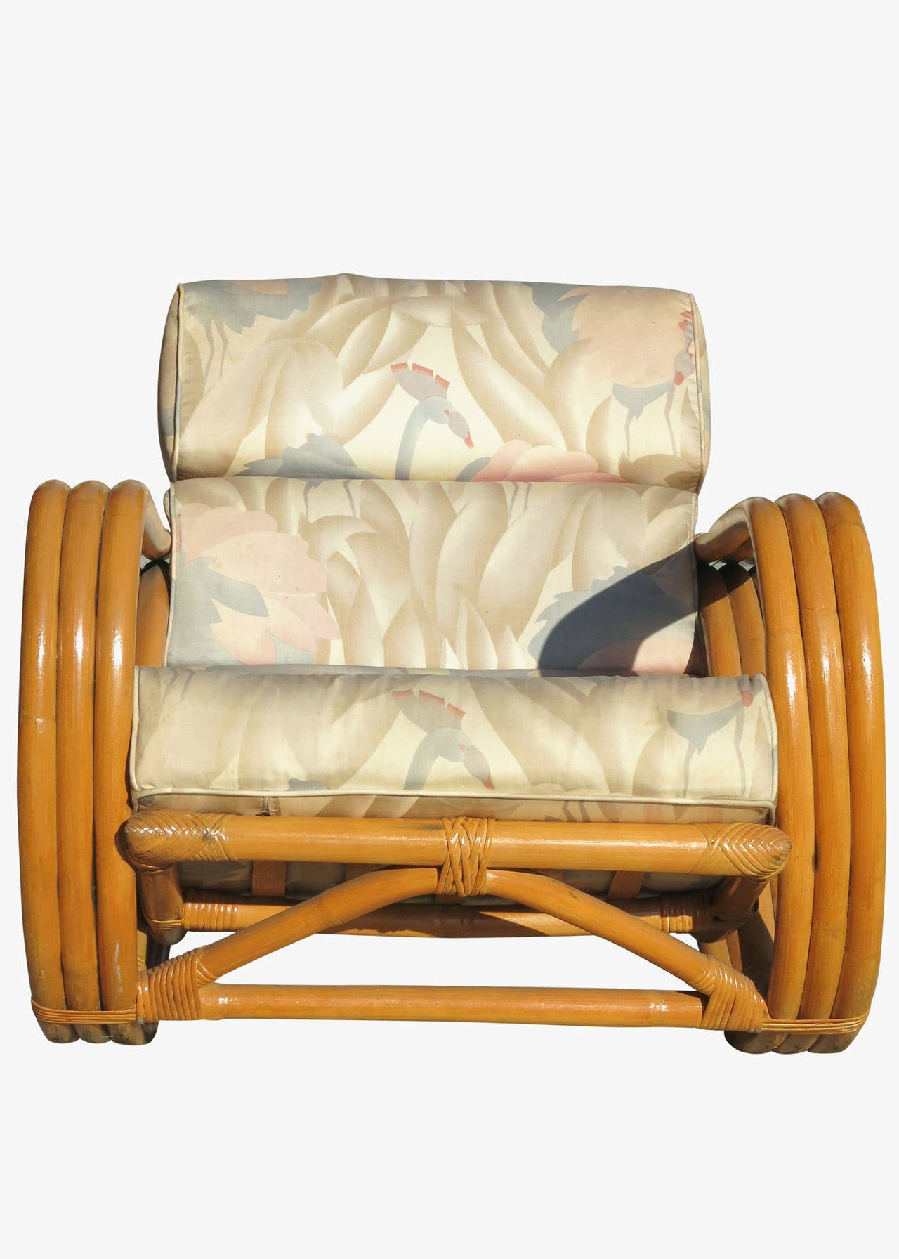 pretzel arm rattan rocking chair with ottoman for sale at 1stdibs