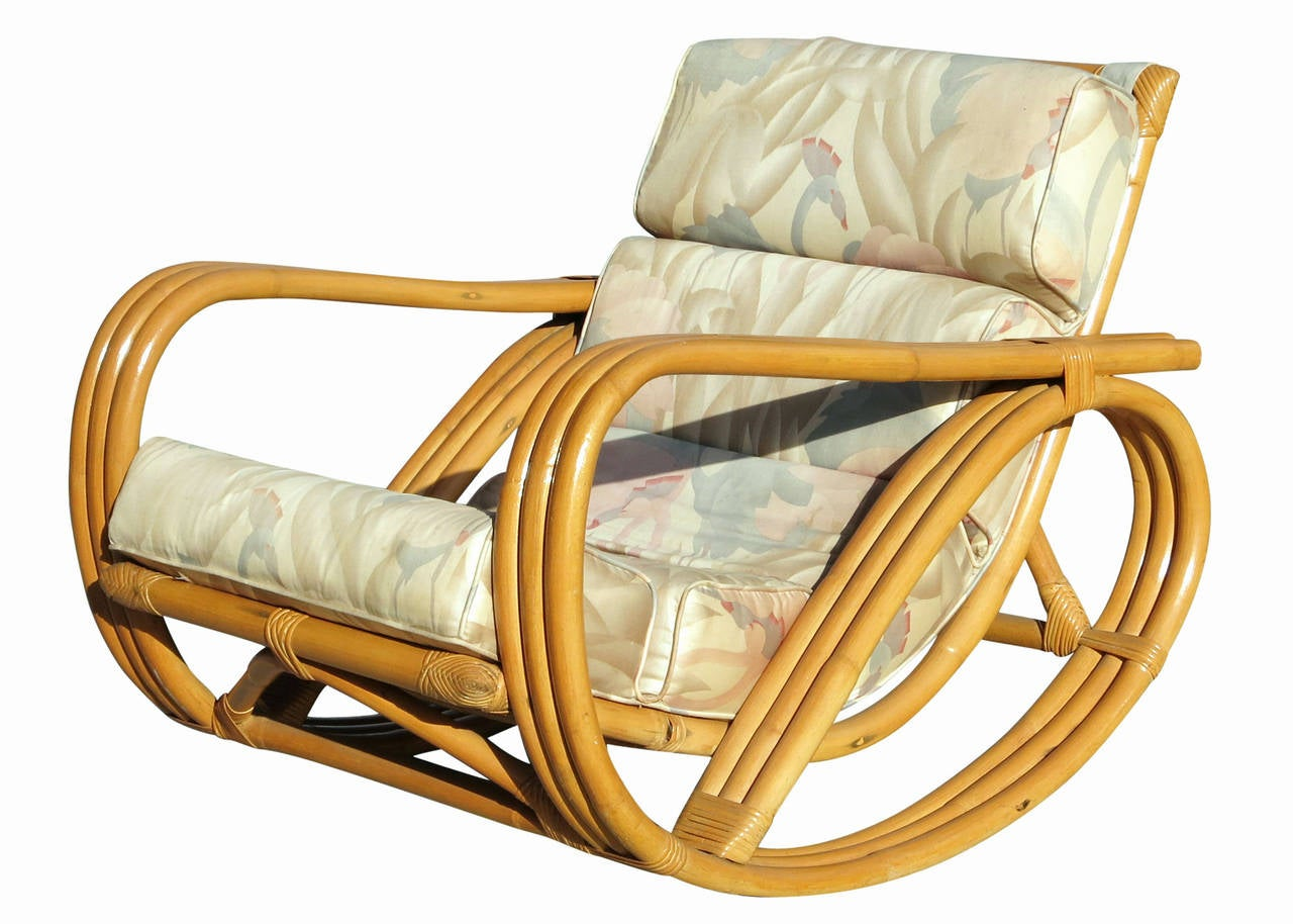 Rare Restored Pretzel Arm Rattan Rocking Chair with Ottoman For Sale ...