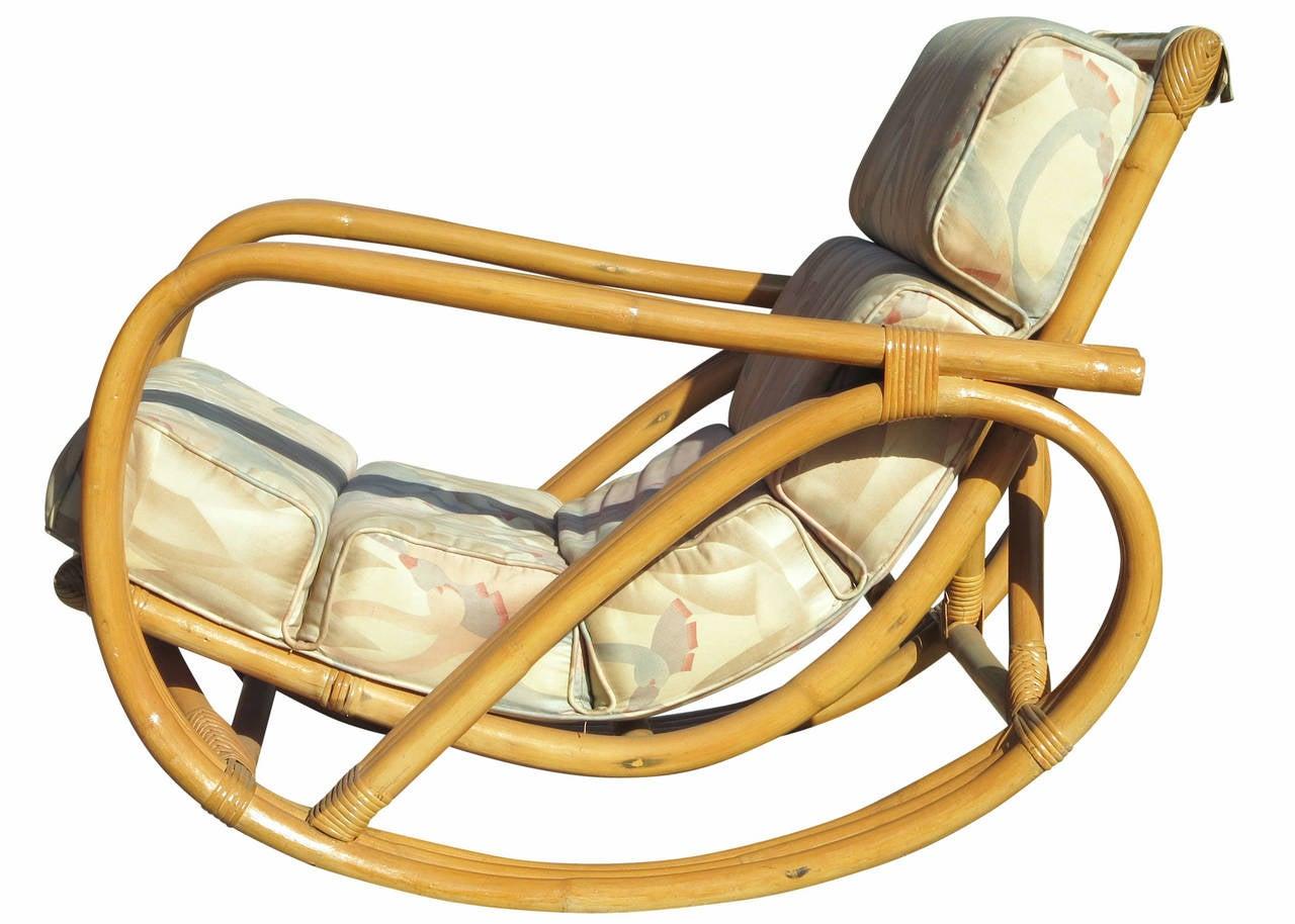 Rare Restored Pretzel Arm Rattan Rocking Chair with
