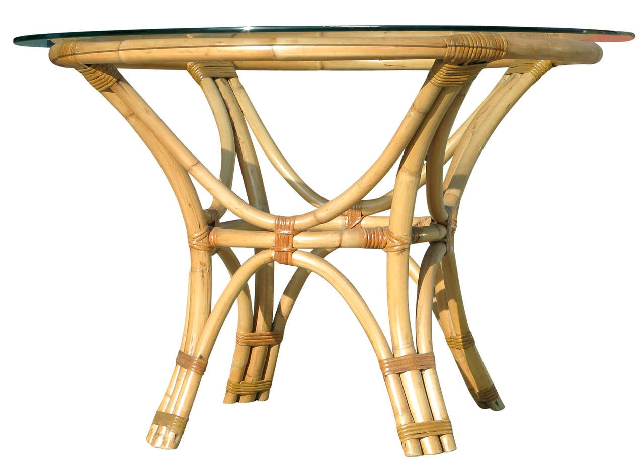 Rattan Bent Wood Dining Table with Round Glass Top at 1stdibs : IMG0119l from www.1stdibs.com size 1280 x 914 jpeg 99kB