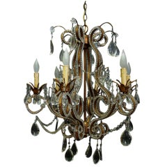 1920s Florentine Beaded Crystal and Brass Six-Arm Chandelier