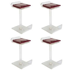 Set of Four Lucite Bar Stools in the style of Charles Hollis Jones