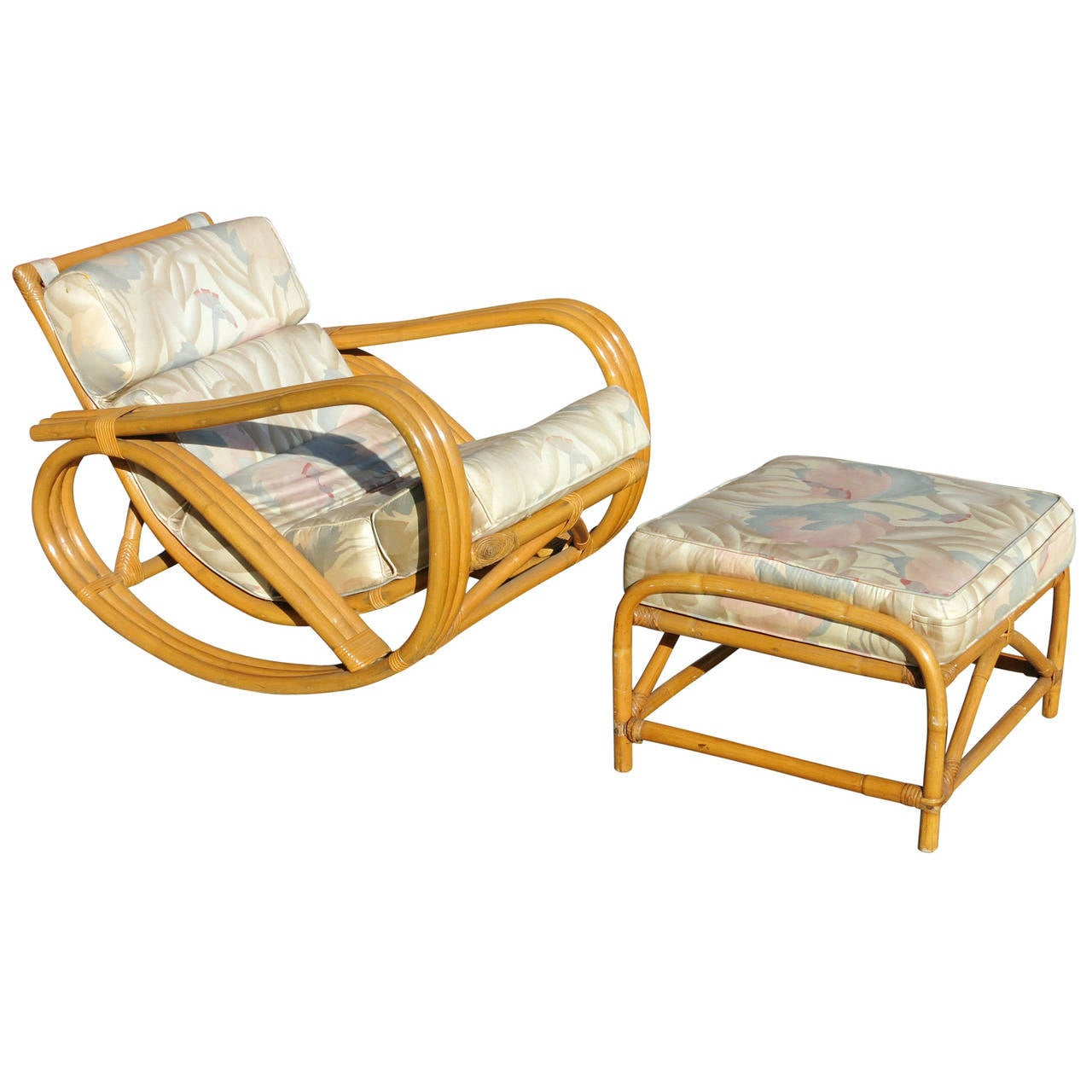 Rare Restored Pretzel Arm Rattan Rocking Chair with Ottoman