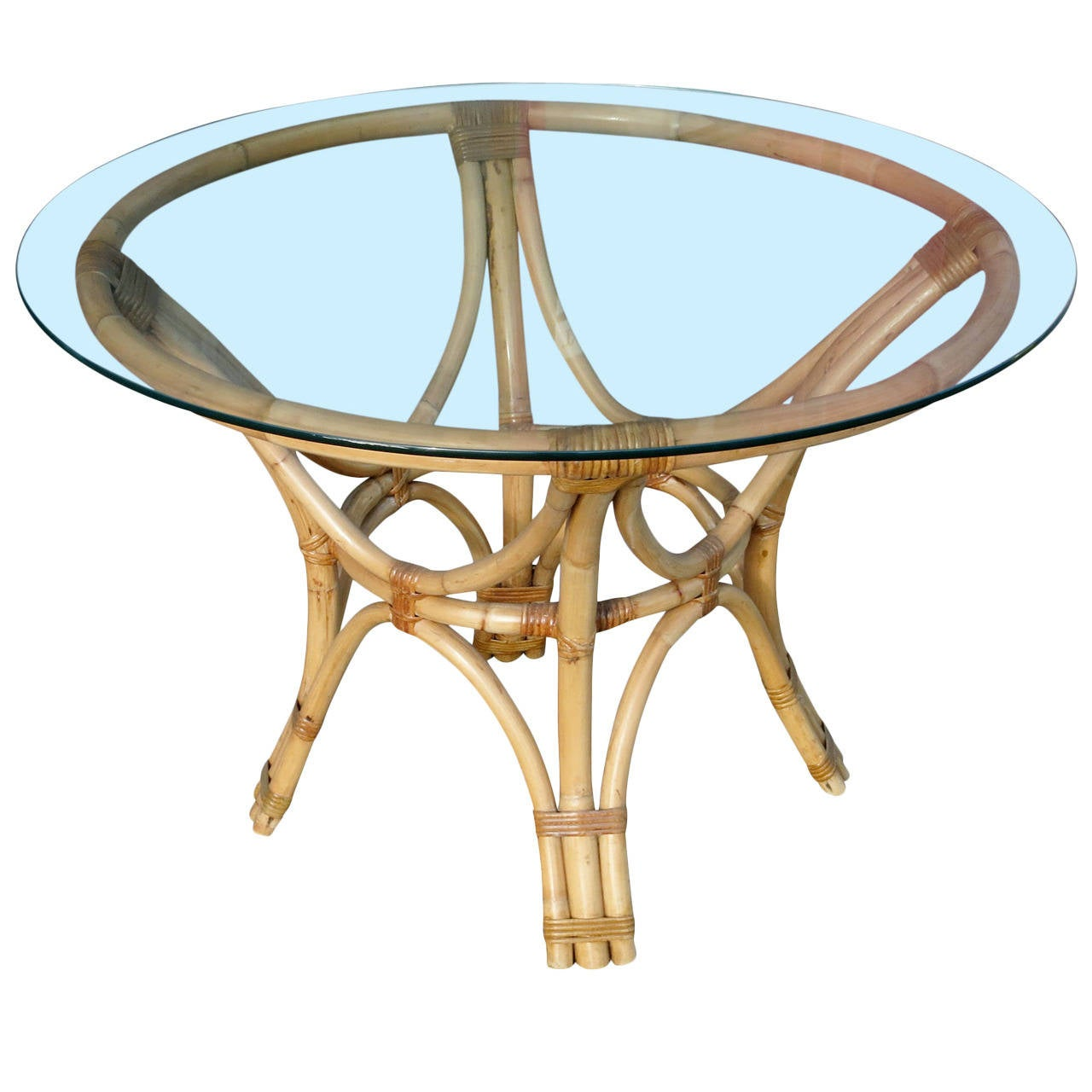 Rattan Bent Wood Dining Table with Round Glass Top For  : 1924942l from www.1stdibs.com size 1280 x 1280 jpeg 96kB