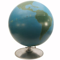 Rare 1940s Hand-Painted World Globe