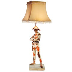 Marbro Harlequin Figural Lamp with Glass Beaded Shade  ** Saturday Sale**