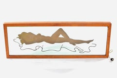 Hand-Painted Light Up Nude Figural Bar Wall Mirror
