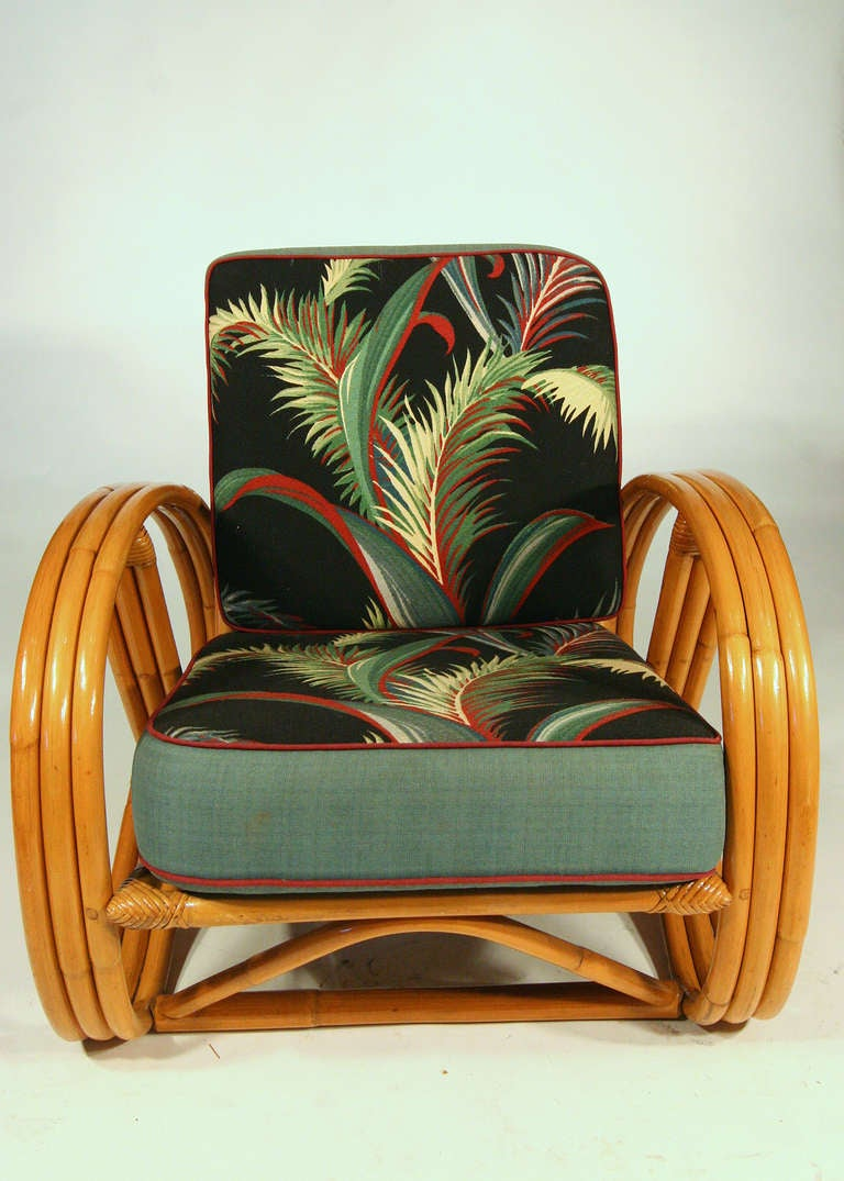 Paul Frankl Style Round Pretzel Arm Rattan Chair Set At
