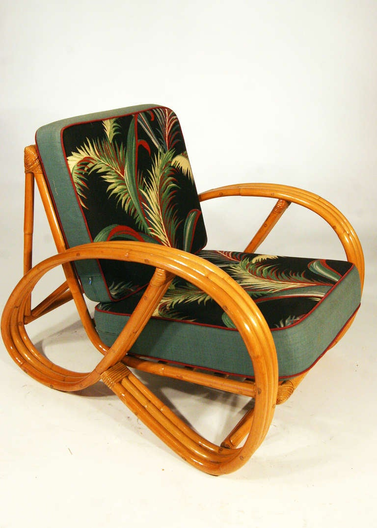 Paul frankl style round pretzel arm rattan chair set at 1stdibs