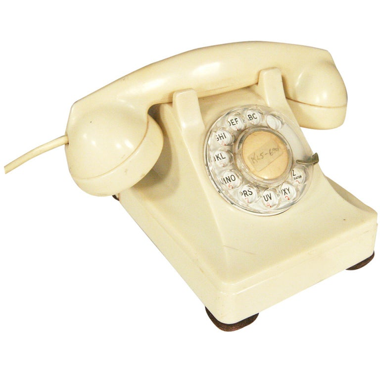 White 1930s Glamour Bakelite Telephone by Bell Systems 1