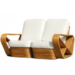 Paul Frankl Six Strand Square Pretzel Stacked Rattan Loveseat