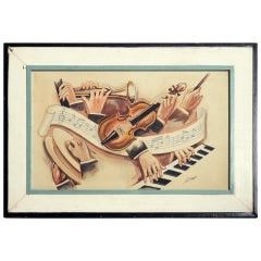 "Carlo of Hollywood ""Jazz Band"" Watercolor Painting"