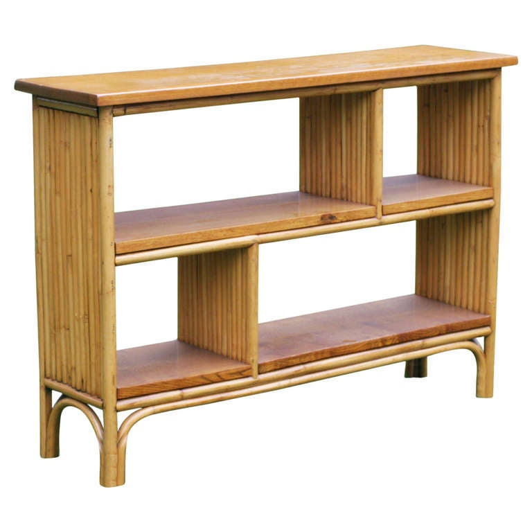 rattan shelf console table with mahogany top at 1stdibs. Black Bedroom Furniture Sets. Home Design Ideas