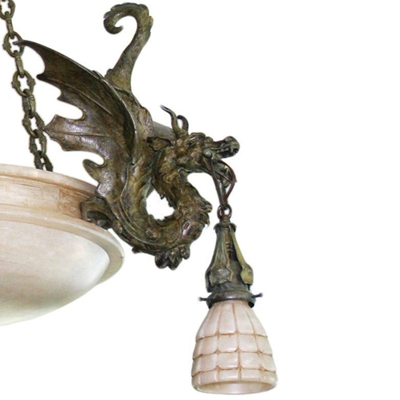 Bronze Dragon Chandelier with Spanish Alabaster Shades