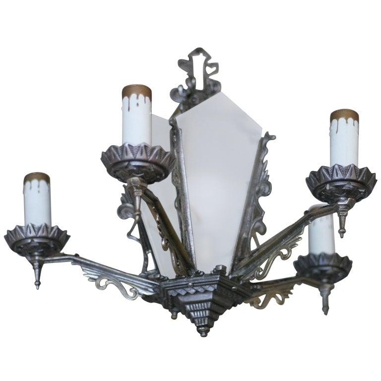 Art Deco Chandelier with Geometric Details  **Saturday Sale**