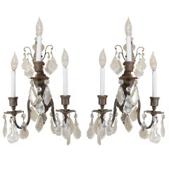 Pair of Italian Cut Crystal Wall Sconces