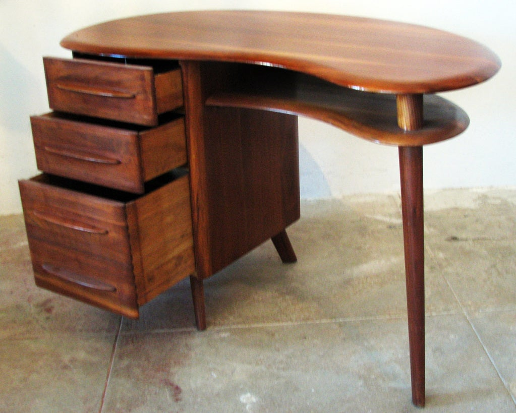 Mid-Century Modern Free-Form Desk in Solid Walnut by Carl Bissman In Excellent Condition For Sale In Van Nuys, CA