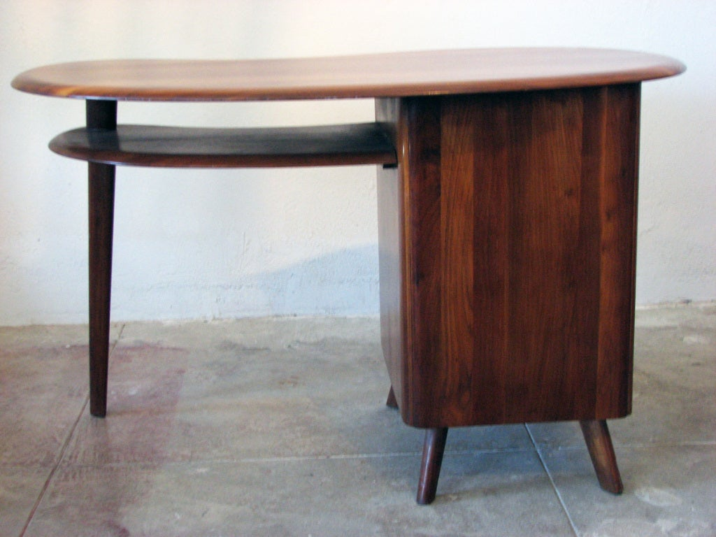 Mid-20th Century Mid-Century Modern Free-Form Desk in Solid Walnut by Carl Bissman For Sale