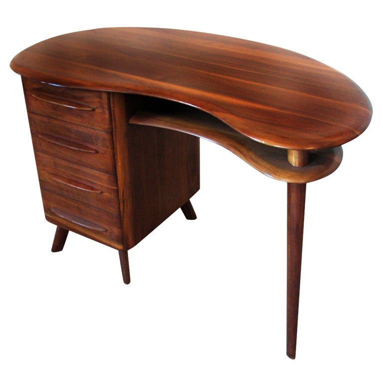 Mid-Century Modern Free-Form Desk in Solid Walnut by Carl Bissman For Sale