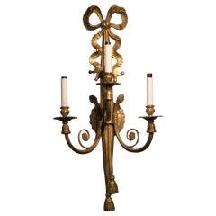 Brass Louis XVI Style Triple Arm Sconce