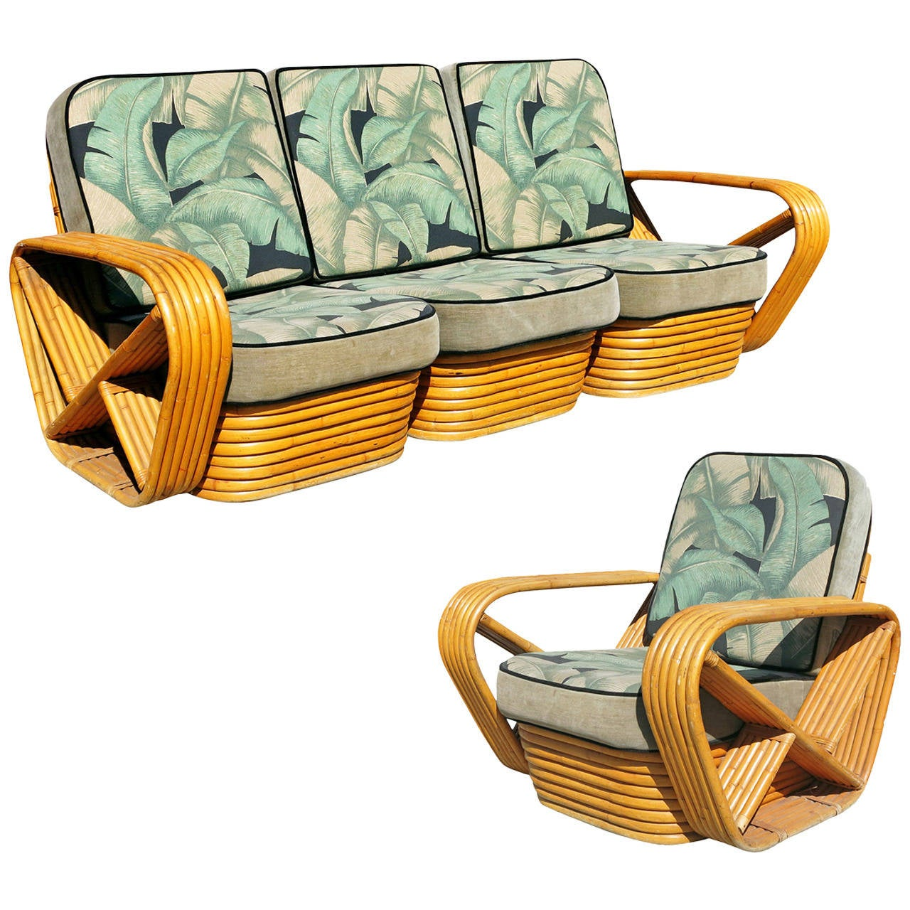 Paul Frankl Sofa ~ Paul frankl style sofa and lounge chair set at stdibs