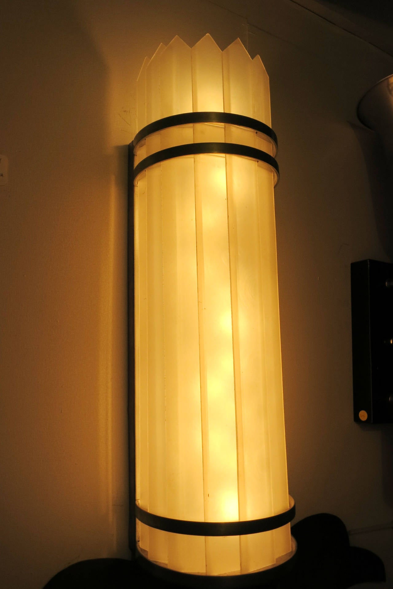 Milk Glass Wall Lamps : Massive Art Deco Polished Aluminum with Slatted Milk Glass Wall Lamp Sonce, Pair at 1stdibs