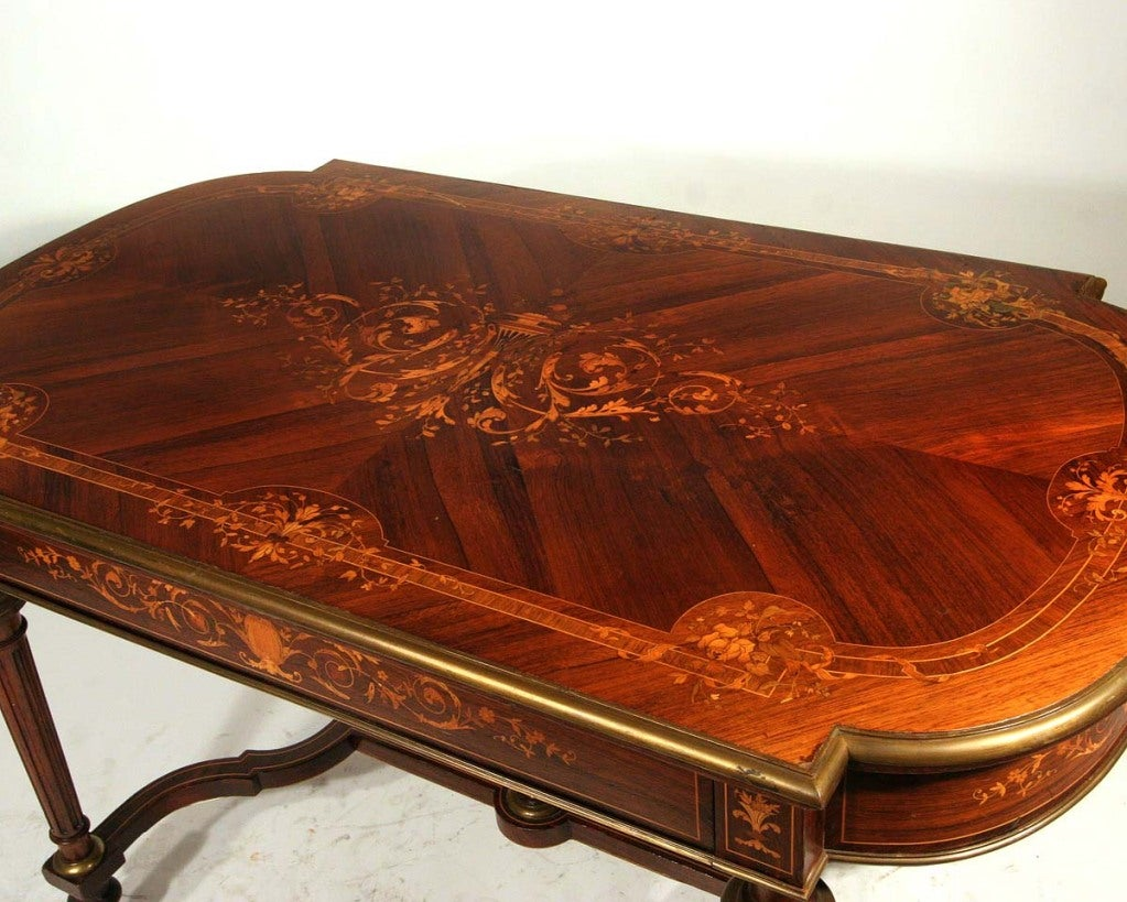 Antique French Louis Xvi Style Desk With Floral Wood Inlay