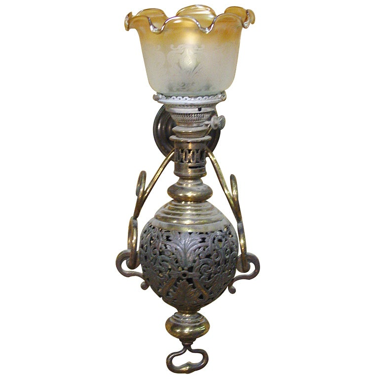 Wall Sconce Hurricane Lamp : Large Colonial Style Hurricane Wall Lamp at 1stdibs