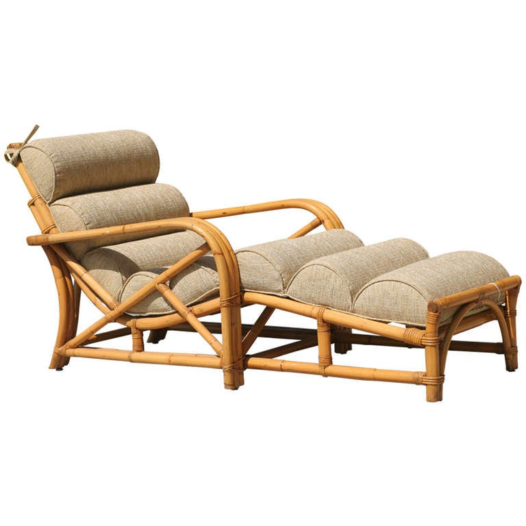 three strand rattan chaise lounge at 1stdibs