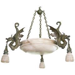 Bronze Dragon Chandelier with Spanish Alabaster Shades