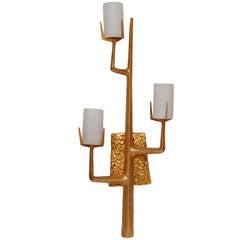 Felix Agostini Style Modernist Wall Sconce 24 Karat Gold Doré
