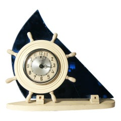 Art Deco Cobalt Blue Glass Sailboat Electric Clock by Victor