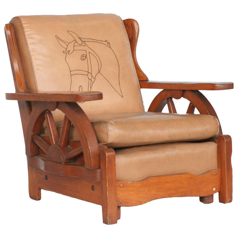 Western Style Wagon Wheel Lounge Chair, Circa 1950 1