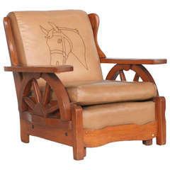 Western Style Wagon Wheel Lounge Chair, Circa 1950