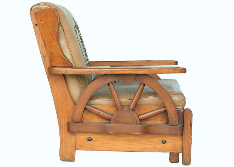 Western Style Wagon Wheel Lounge Chair, Circa 1950 3