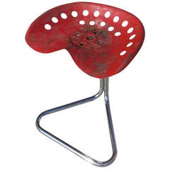 """Rare Red Rodney Kinsman """"T7 Tractor"""" Outdoor/Patio Stool for OMK"""