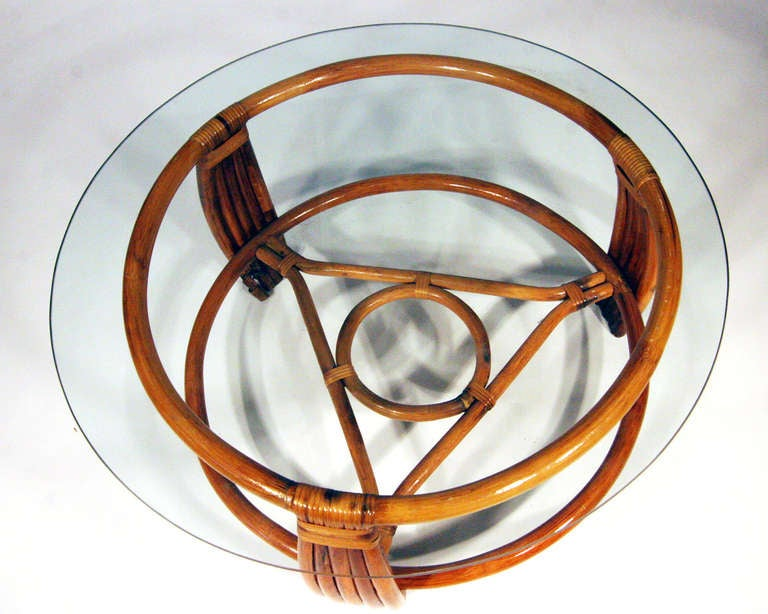 five strand rattan coffee table with glass top 2