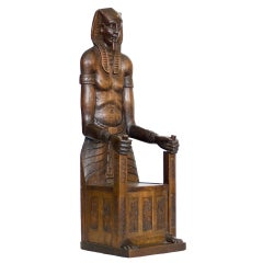 Carved Egyptian Pharaoh Amenhotep III Throne Jewelry Box