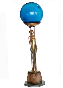 """Frankart Brass and Copper """"Sarcophagus Girl"""" Ashtray Stand"""