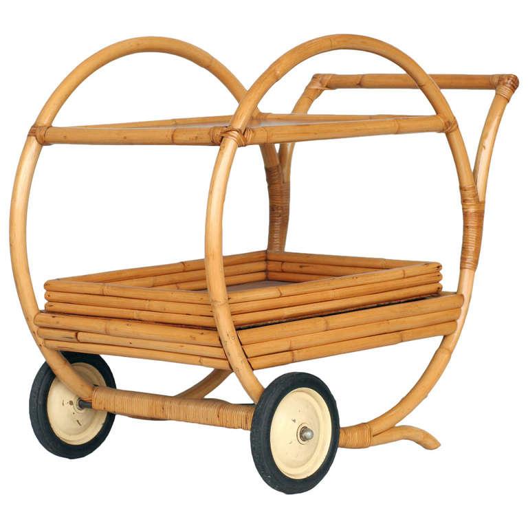 1940s round rattan and mahogany bar cart at 1stdibs. Black Bedroom Furniture Sets. Home Design Ideas